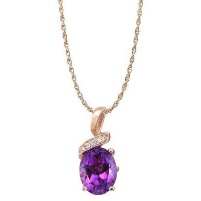14K Rose Gold Amethyst/Diamond Pendant (With Chain) | PPF097A22RI-CH