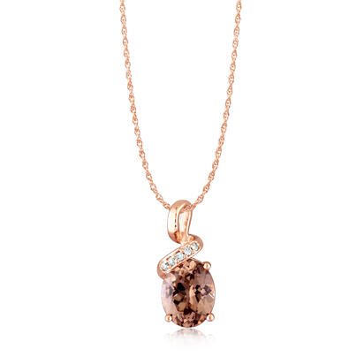14K Rose Gold Lotus Garnet/Diamond Pendant | PPF097LG2RI