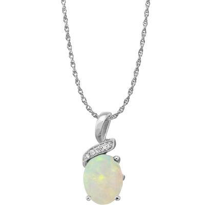 14K White Gold Opal/Diamond Pendant | PPF097N12WI