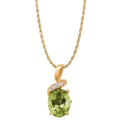 14K Yellow Gold Peridot/Diamond Pendant | PPF097T22CI