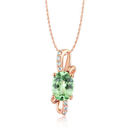 14K Rose Gold Mint Garnet/Diamond Pendant | PPF103MG2RI