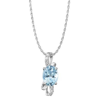 14K White Gold Aquamarine/Diamond Pendant | PPF103Q22WI