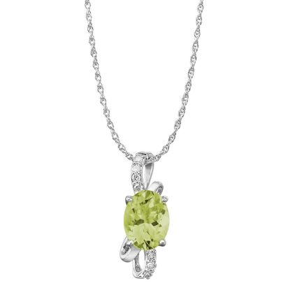 14K White Gold Peridot/Diamond Pendant (With Chain) | PPF103T22WI-CH