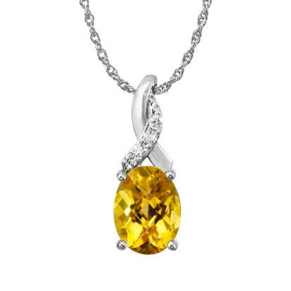 14K White Gold Citrine/Diamond Pendant with Chain | PPF109CC2WI-CH