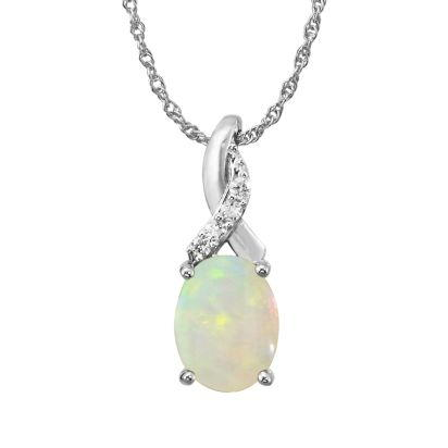 14K White Gold Australian Opal/Diamond Pendant (With Chain) | PPF109N22WI-CH