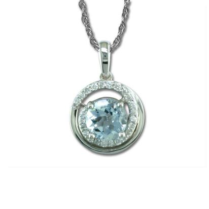 14K Yellow Gold Aquamarine/Diamond Pendant | PPF130Q22CI