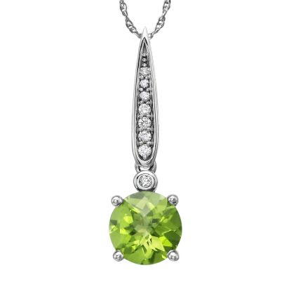 14K White Gold Peridot/Diamond Pendant with Chain | PPF160TC2W-CH