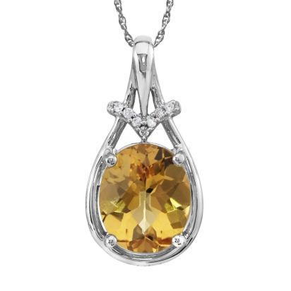 14K White Gold Checkerboard Citrine/Diamond Pendant | PPF163CC2W