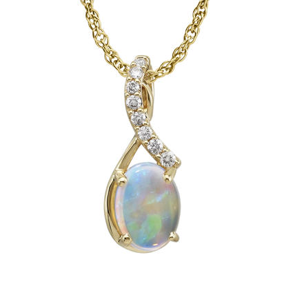 14K Yellow Gold Australian Opal/Diamond Pendant (With Chain) | PPF170N12C-CH
