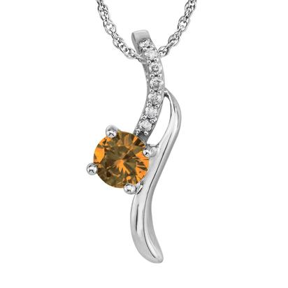 14K White Gold Citrine/Diamond Pendant | PPF173C22W