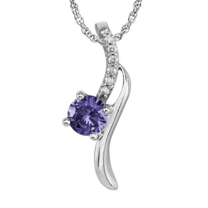14K White Gold Peacock Tanzanite/Diamond Pendant | PPF173FT2W
