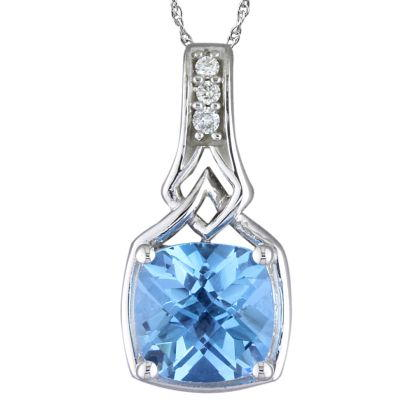 14K White Gold Blue Topaz Cushion Checkerboard/Diamond Pendant | PPF175BC2W