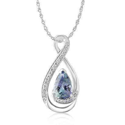 14K White Gold Peacock Tanzanite/Diamond Pendant | PPF180FT1WI
