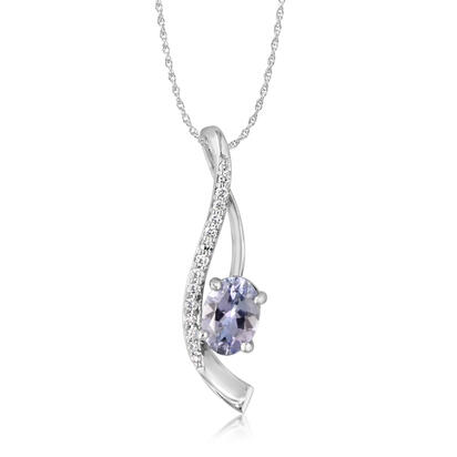 14K White Gold Peacock Tanzanite/Diamond Pendant | PPF184FT2WI
