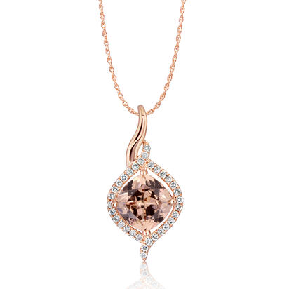 14K Rose Gold Rhodolite Checkerboard/Diamond Pendant | PPF186LC2RI