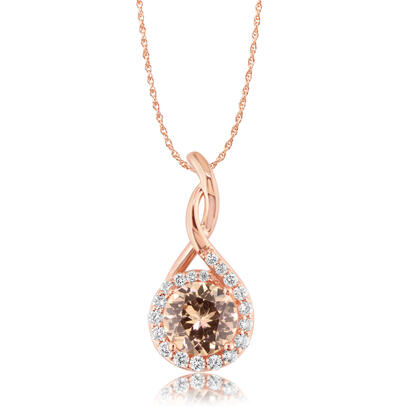 14K Rose Gold Lotus Garnet/Diamond Pendant | PPF194LG2RI