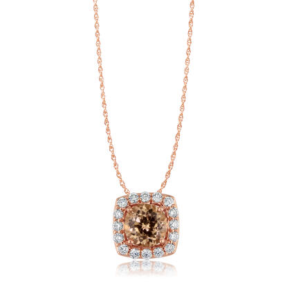 14K Rose Gold Lotus Garnet/Diamond Pendant | PPF195LG2RI