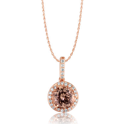 14K Rose Gold Lotus Garnet/Diamond Pendant | PPF198LG2RI