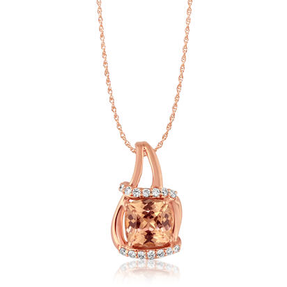 14K Rose Gold Lotus Garnet/Diamond Pendant | PPF199LG2RI