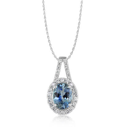 14K White Gold Aquamarine/Diamond Pendant | PPF203Q01WI