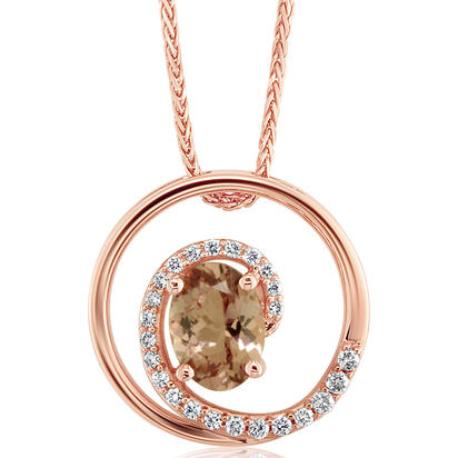14K Rose Gold Lotus Garnet/Diamond Pendant | PPF214LG2R