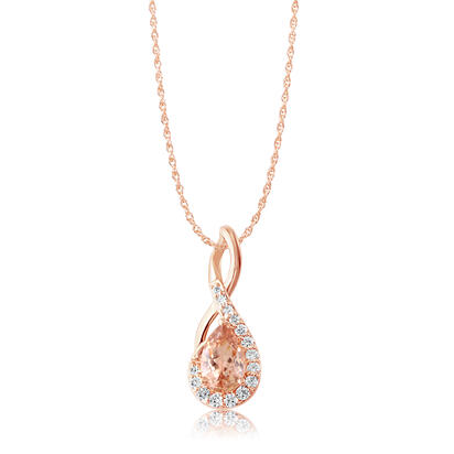 14K Rose Gold Lotus Garnet/Diamond Pendant | PPF218LG1RI