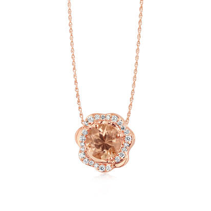 14K Rose Gold Lotus Garnet/Diamond Pendant | PPF220LG1RI