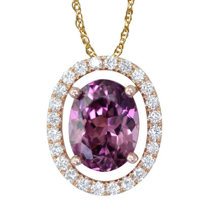 14K Rose Gold 8x6 Oval Purple Garnet/Diamond Pendant Set with Chain | PPF224GP2RI-SET