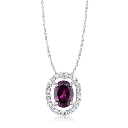 14K White Gold 8x6 Oval Rhodolite Garnet/Diamond Pendant Set with Chain | PPF224L22WI-SET