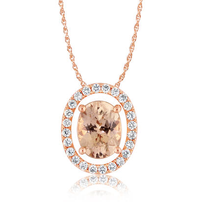 14K Rose Gold 8x6 Oval Lotus Garnet/Diamond Pendant Set with Chain | PPF224LG2RI-SET