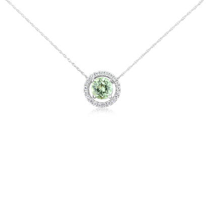 14K White Gold 6mm Round Mint Garnet/Diamond Pendant Set with Chain | PPF225MG2WI-SET