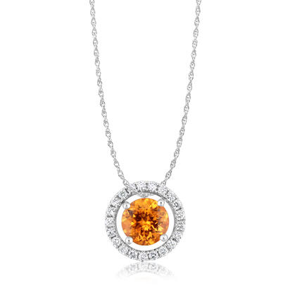 14K White Gold 6mm Round Mandarin Garnet/Diamond Pendant Set with Chain | PPF225SPE2WI-SET