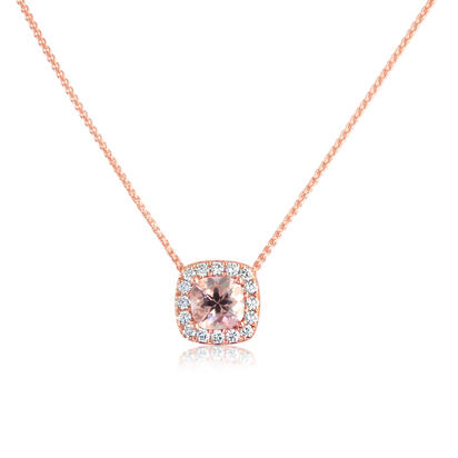 14K Rose Gold Lotus Garnet/Diamond Pendant with Chain | PPF231LG2RI-CH