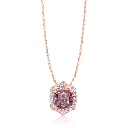14K Rose Gold Lotus Garnet/Diamond Pendant | PPF241LG2RI