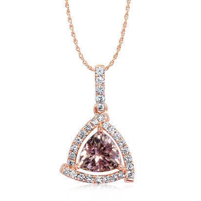 14K Rose Gold Lotus Garnet/Diamond Pendant | PPF242LG2RI