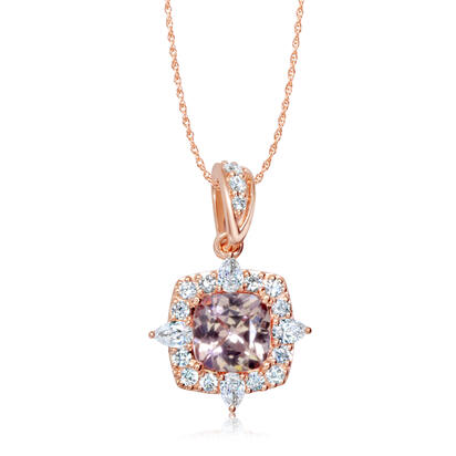 14K Rose Gold Lotus Garnet/Diamond Pendant | PPF245LG2RI