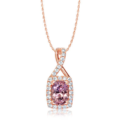 14K Rose Gold Lotus Garnet/Diamond Pendant | PPF246LG2RI