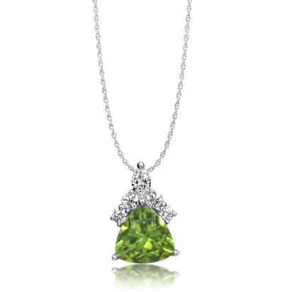 14K White Gold Peridot/Diamond Pendant (With Chain) | PPF250T22WI-CH