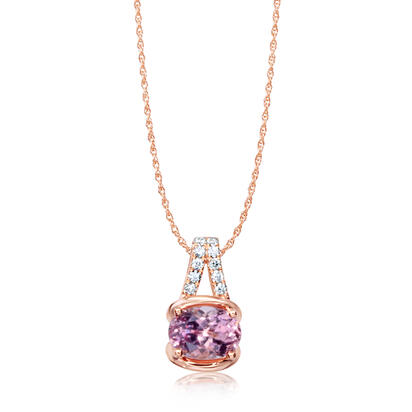 14K Rose Gold Lotus Garnet/Diamond Pendant | PPF253LG2RI