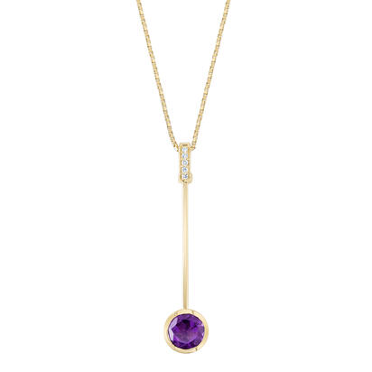 14K Yellow Gold Amethyst/Diamond Pendant | PPF259A22CI
