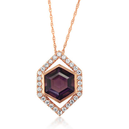 14K Rose Gold Amethyst/Diamond Pendant | PPF261A22RI