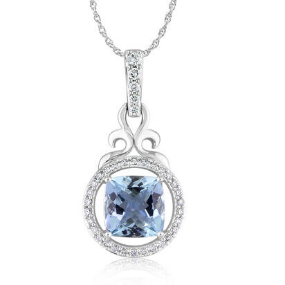 14K White Gold Aquamarine/Diamond Pendant | PQ0885226WI