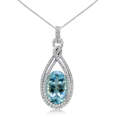 18K White Gold Aquamarine/Diamond Pendant