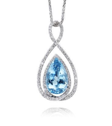 18K White Gold Aquamarine/Diamond Pendant | PQ0PR832508QI