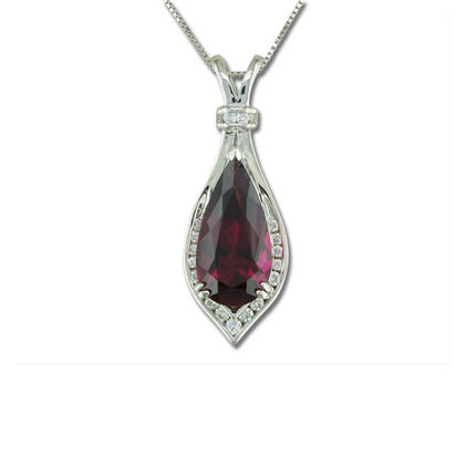 18K White Gold Raspberry Tourmaline(Rubellite)/Diamond Pendant