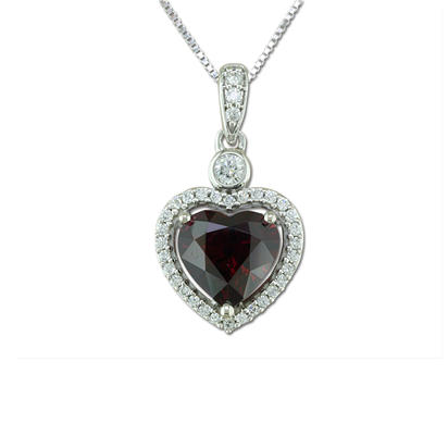 18K White Gold Mozambique Ruby/Diamond Pendant
