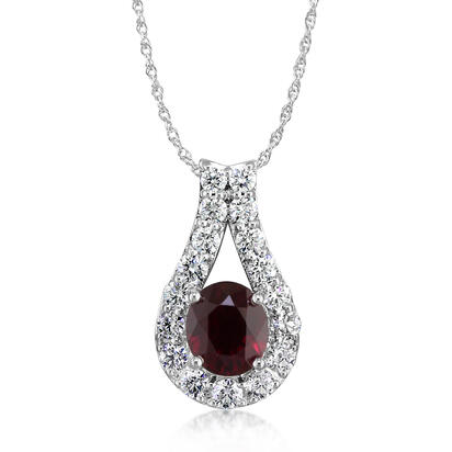 18K White Gold Mozambique Ruby/Diamond Pendant | PRZOV0650227QI