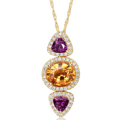 14K Yellow Gold Mandarin Garnet/Purple Garnet/Diamond Pendant | PSEOV833308C