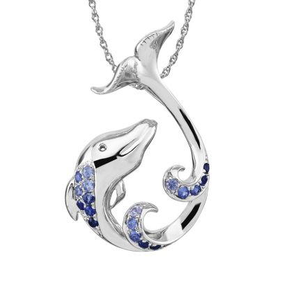 Sterling Silver Graduated Blue Sapphire Dolphin Pendant