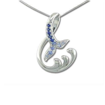 14K White Gold Graduated Blue Sapphire Whale Tail Pendant